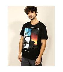 camiseta masculina paisagem tropical manga curta gola careca preta