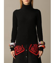 stella jean sweater wool crewneck with detachable bracelets