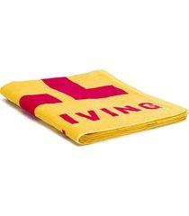 diesel toalha de praia com estampa de logo - amarelo