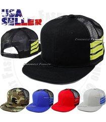 baseball snapback trucker cap flat bill mesh adjustable plain hat line new men's