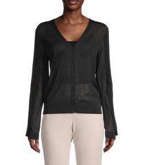 akris women's silk & cotton-blend buttoned cardigan - black - size 8