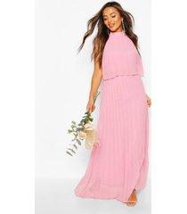 petite occasion pleated double layer maxi dress, blush