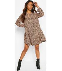 gesmokte luipaardprint jurk met strik, brown