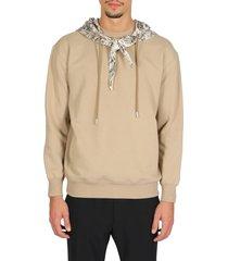 fur print slim scarf hoodie