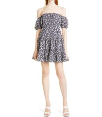 women's likely marty off the shoulder dress, size 4 - blue