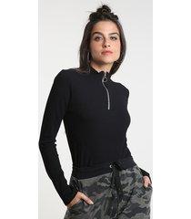 blusa feminina canelada com zíper de argola manga longa gola alta preta