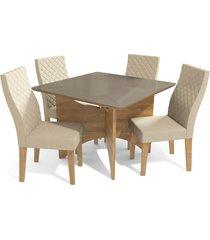 conjunto mesa camomila c/ 4 cadeiras freijã³/linho bege kappesberg - bege - dafiti