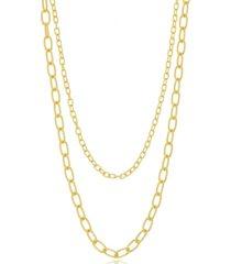 colar duplo maxi elos folheado a ouro 18k - dourado - feminino - dafiti