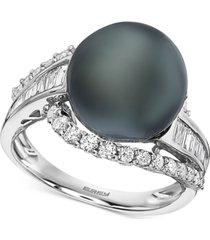 effy black cultured tahitian pearl (12mm) & diamond (3/4 ct. t.w.) ring in 14k white gold