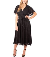 ny collection petite burnout cape-sleeve fit & flare dress