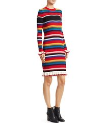 striped rib-knit sweater dress