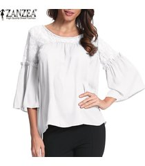 zanzea mujer lace up crochet evening party ladies tops blusa suelta camisa tallas grandes -blanco