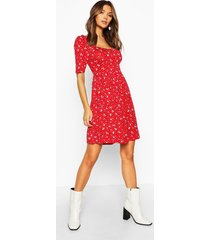 ditsy print puff sleeve jersey skater dress, red