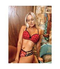 conjunto passion água viva lingerie com bojo detalhe tule bordado vermelho e preto
