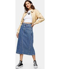 vintage wash denim a line midi skirt - mid stone