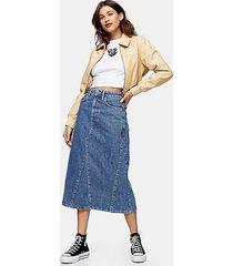 vintage wash denim a line midi skirt - mid stone