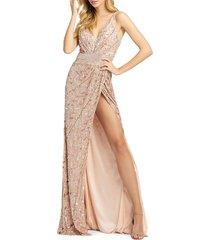 mac duggal women's sequin surplice gown - rose gold - size 18