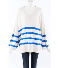 barrie striped cashmere knit oversized sweater blue/white sz: xs