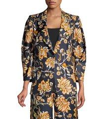 kobi halperin women's maria floral silk jacket - black multi - size xs