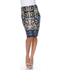 white mark medallion print victoria pencil skirt