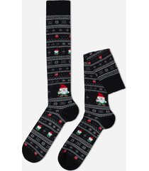 calzedonia christmas pattern cotton long socks man black size tu