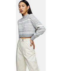 gray marl striped super crop brushed sweater - grey marl