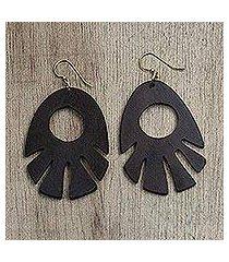 ebony wood dangle earrings, 'labadi breeze' (ghana)