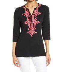women's ming wang soutache embellished tunic, size small - black