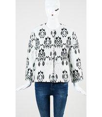 multicolor jacquard 3/4 sleeve collarless jacket