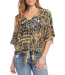 animal-print tie top