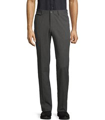 slim-fit micro pattern cotton trousers