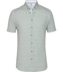 desoto overhemd fijne print korte mouw button down slim fit