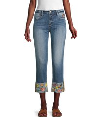 driftwood women's colette embroidered-cuff jeans - medium wash - size 26 (2-4)