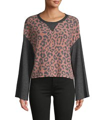 leopard-print colorblock pullover