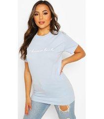 petite 'i know huh' slogan t-shirt, light blue
