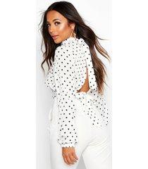 petite blouse met stippen, hoge hals en rug strik, wit