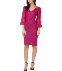 js collections applique-lace bell-sleeve dress