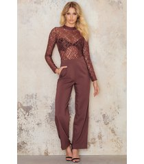 na-kd party high neck lace jumpsuit - copper