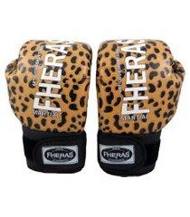 luva boxe muay thai top fheras - 14 oz onça bege .