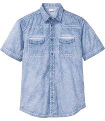 camicia a maniche corte effetto lavato (blu) - john baner jeanswear