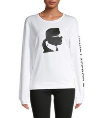 karl lagerfeld paris women's silhouette graphic sweatshirt - white - size xs
