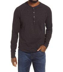 men's good man brand legend slub long sleeve henley t-shirt, size medium