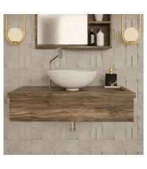 conjunto para banheiro bancada com cuba r35 redonda city 800 carvalho dark