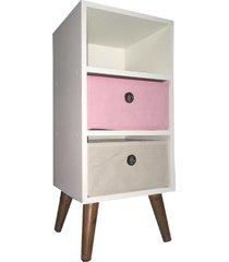 mesa de cabeceira pé palito com gaveta - mdf branco - gaveteiro rosa bege