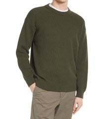 men's closed wool blend sweater, size large - green