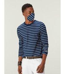 camiseta listrada viroblock® masculina malwee azul claro - gg