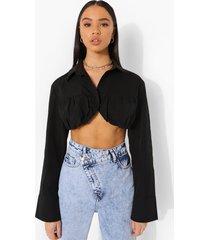 korte blouse met geplooide buste en lange mouwen, black