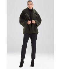 natori faux shearling short collared coat, women's, size l
