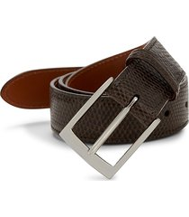 saks fifth avenue men's boxed lizard leather belt with interchangeable buckles - dark brown - size 36