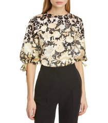women's rebecca taylor gold leaf mix print tie sleeve top